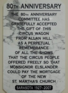 80th Anniversary Circus plaque