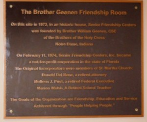 Brother Geenen Friendship Hall Plaque