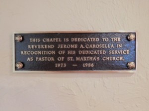 Carosella Chapel dedication plaque
