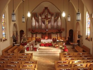 Church - inside view at Christmas 2009