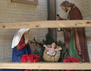 Holy Family display for Christmas in Courtyard